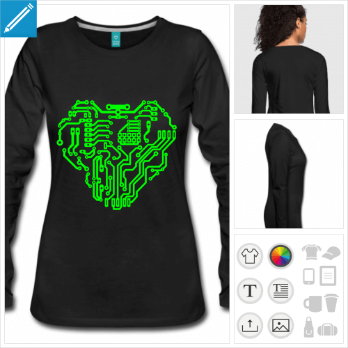 t-shirt noir robot à créer soi-même