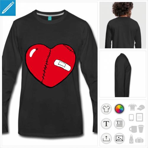 t-shirt manches longues coeur personnalisable, impression à l'unité