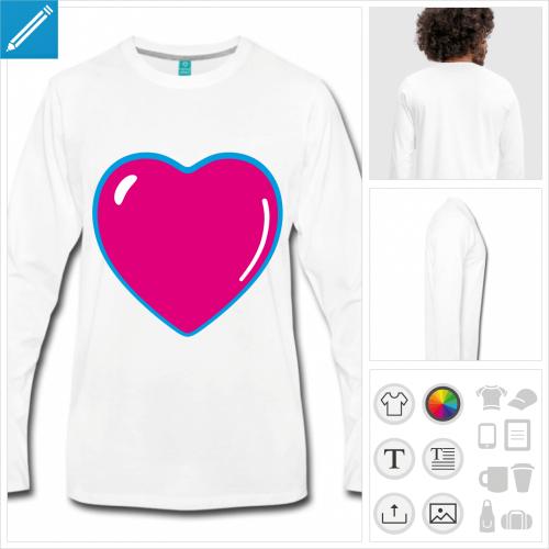 t-shirt homme coeur kawaii personnalisable, impression à l'unité