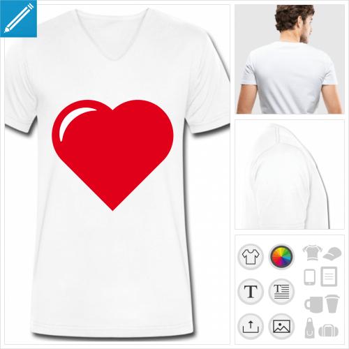 t-shirt simple coeur pointu à créer soi-même