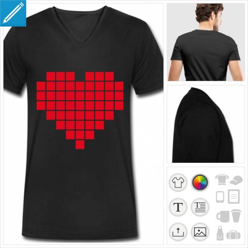 t-shirt manches courtes coeur pixel à créer soi-même