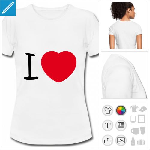 t-shirt blanc simple I love coeur à créer en ligne