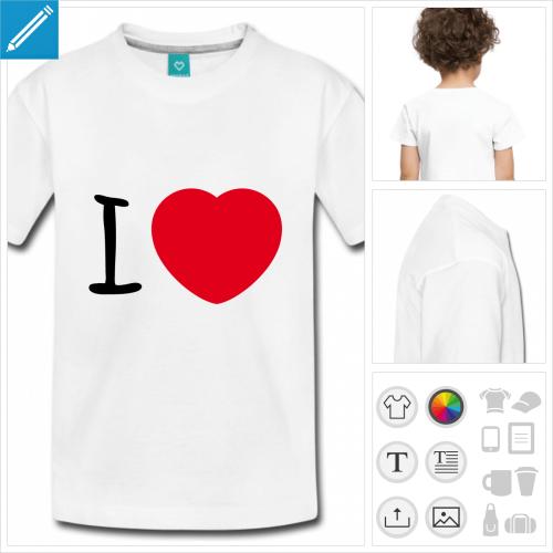 t-shirt blanc I love à personnaliser en ligne