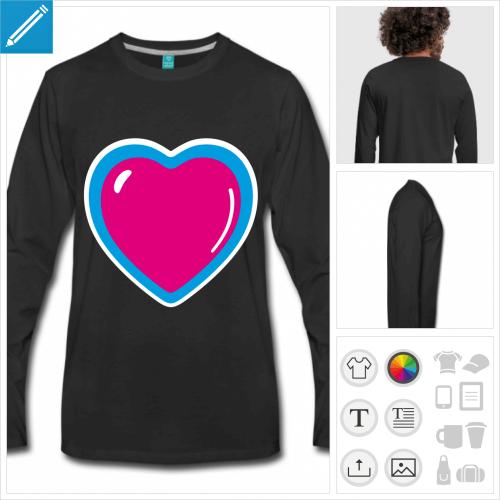 t-shirt noir coeur anime à personnaliser, impression unique