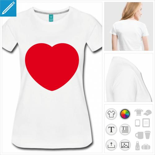 t-shirt manches courtes i love à personnaliser en ligne