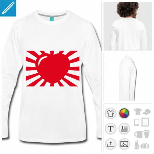 t-shirt manches longues coeur manga à personnaliser, impression unique