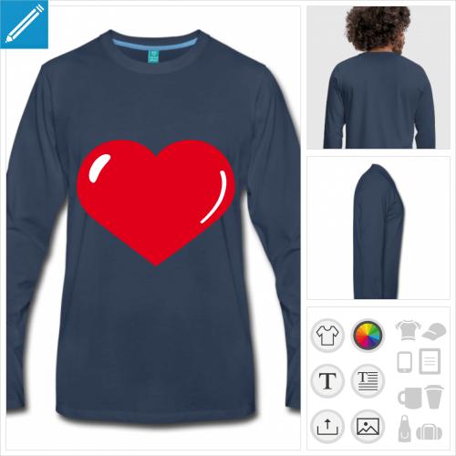t-shirt manches longues coeur reflet à créer soi-même