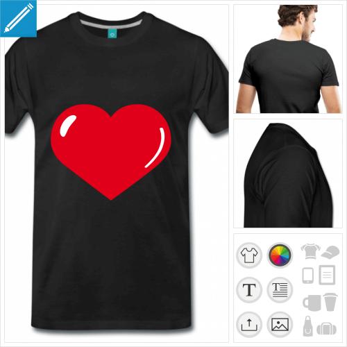 T-shirt coeur personnalisable à reflets, à imprimer en ligne. Ajoutez votre texte, personnalisez les couleurs.