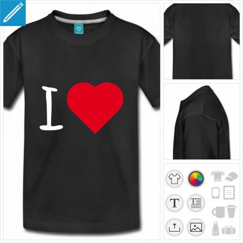 t-shirt manches courtes I love coeur à personnaliser et imprimer en ligne