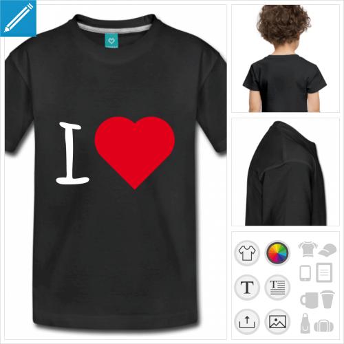 t-shirt blanc simple I love à imprimer en ligne