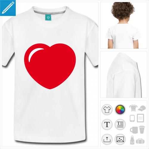 t-shirt enfant manches courtes coeur personnalisable, impression à l'unité