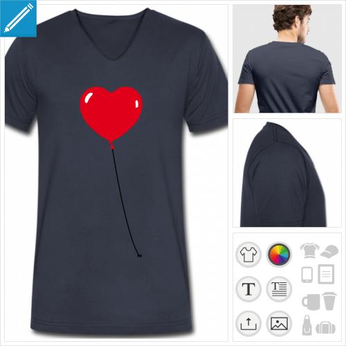 t-shirt manches courtes coeur à créer en ligne