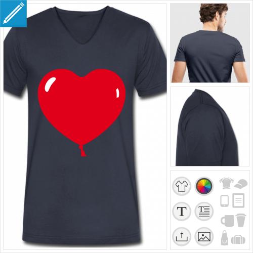 t-shirt ballon coeur à créer soi-même