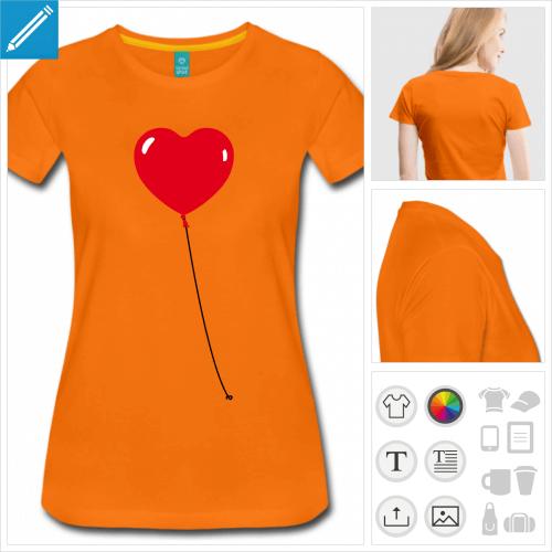 t-shirt orange coeur rond à personnaliser