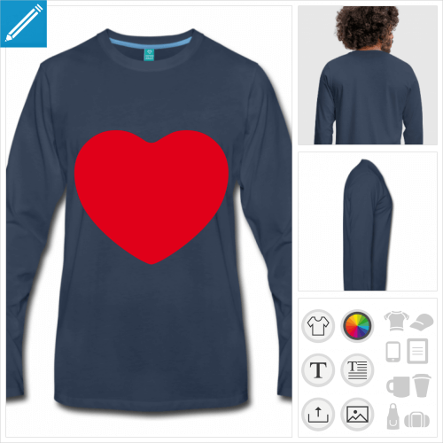 t-shirt manches longues I love à personnaliser