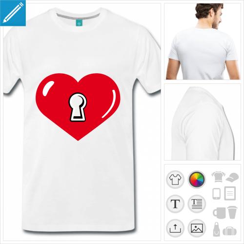 T-shirt cœur et serrure à imprimer en ligne. Gros cœur large et serrure stylisée.