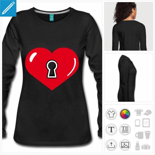 t-shirt noir coeur à créer en ligne