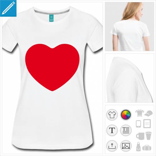 t-shirt femme I love à imprimer en ligne