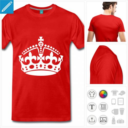 T-shirt couronne keep calm à personnaliser, ajoutez votre texte et créez votre blague keep calm.