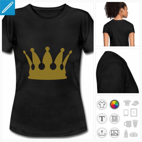 t-shirt noir basique couronne à personnaliser
