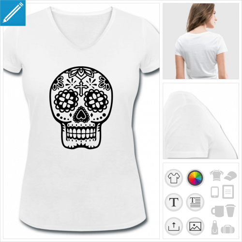 t-shirt femme calavera à créer soi-même