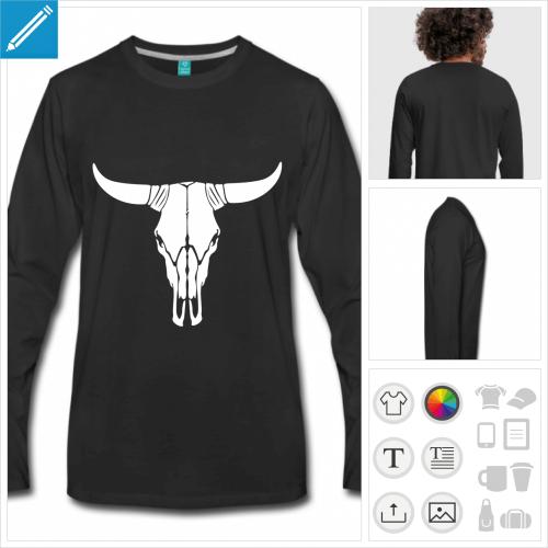 t-shirt manches longues crâne de vache personnalisable