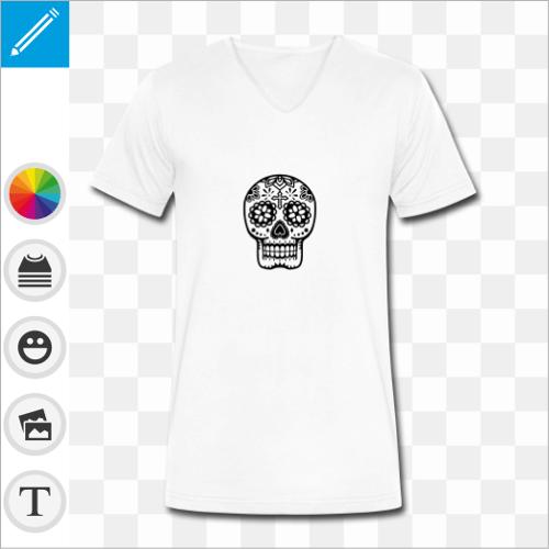 T-shirt blanc pour homme col en V et coupe élégante, motif crâne fleuri en style mexicain