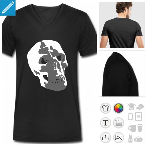t-shirt pour homme crâne à personnaliser