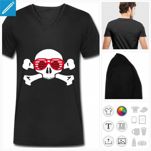t-shirt crâne lunettes personnalisable