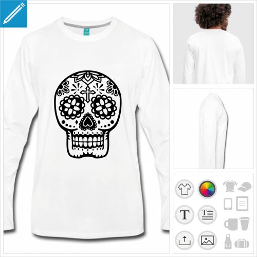 T-shirt basique manches longues blanc avec tête de mort mexicaine fleurie, modèle Spreadshirt.