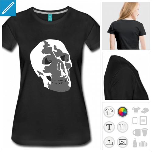 t-shirt basique tête de mort à personnaliser, impression unique