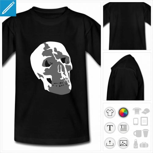 t-shirt noir ado crâne à personnaliser et imprimer en ligne