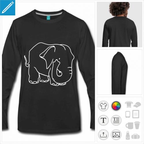 t-shirt homme gros éléphant à personnaliser et imprimer en ligne