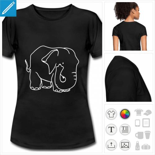 t-shirt blanc gros éléphant à personnaliser