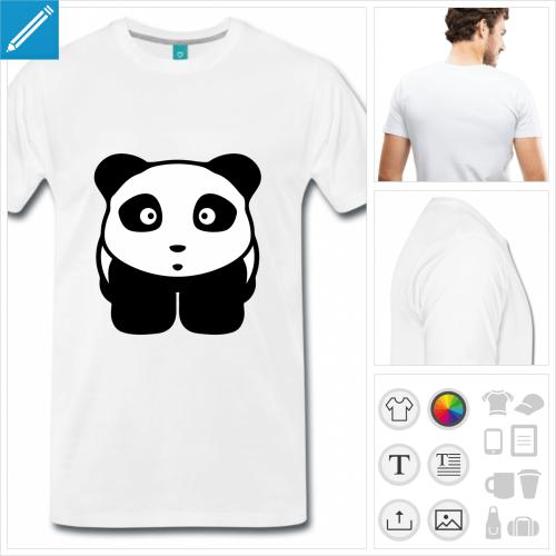 T-shirt dessin de panda en style kawaii à imprimer en ligne.