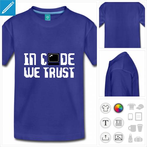 t-shirt pour ado informatique à créer en ligne