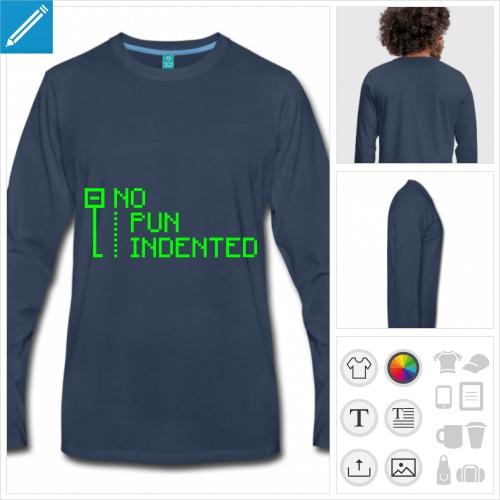 t-shirt manches longues pun indented à créer soi-même