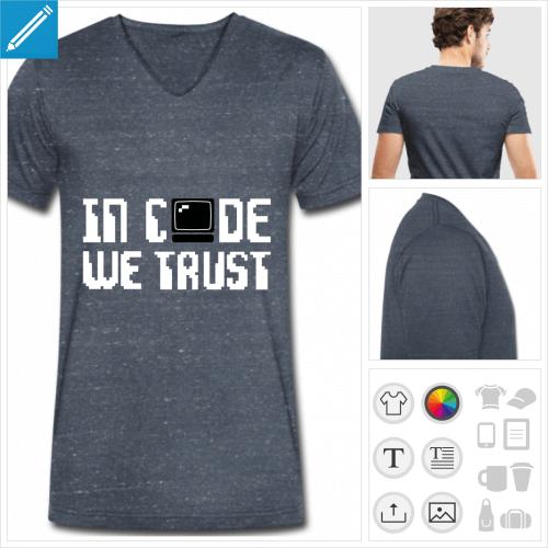 tee-shirt développeur à personnaliser