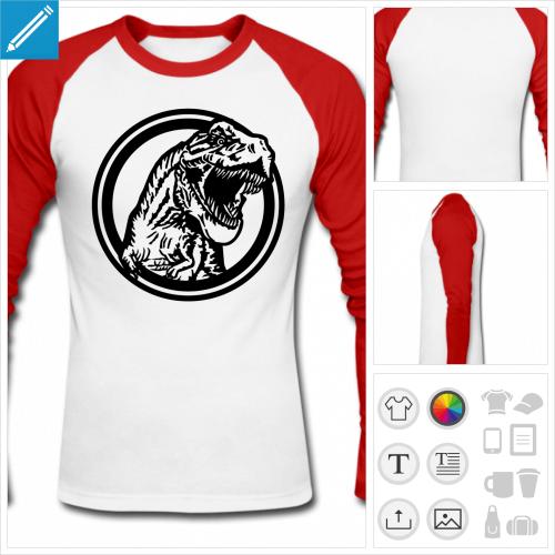 t-shirt baseball tyrannosaurus rex personnalisable, impression à l'unité