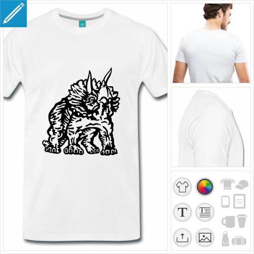 T-shirt dinosaure, triceratops à personnaliser, dessiné en contours noirs. Couleur personnalisable.