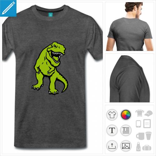 T-shirt dinosaure à personnaliser et imprimer en ligne, t-rex opaque 3 couleurs.