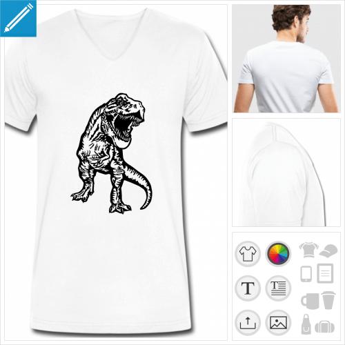 t-shirt manches courtes dinosaure personnalisable