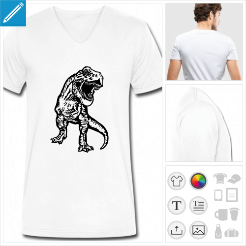 t-shirt chiné tyrannosaurus rex à créer soi-même