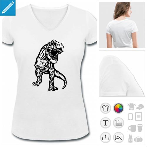t-shirt femme dinosaure à créer soi-même