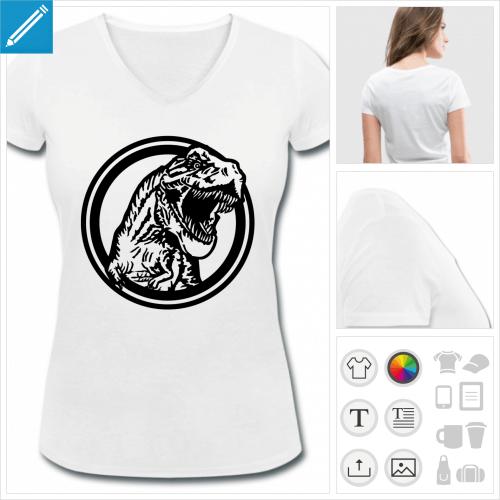 t-shirt femme basique dinosaure à personnaliser