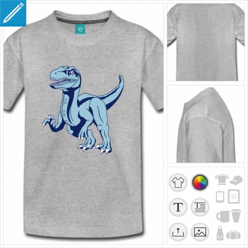 tee-shirt ado dinosaure vélociraptor à créer soi-même