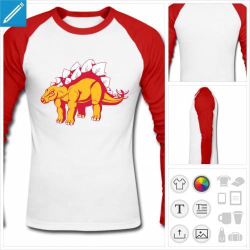 t-shirt baseball dinosaure personnalisable, impression à l'unité