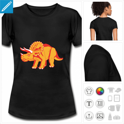 t-shirt simple tricératops personnalisable