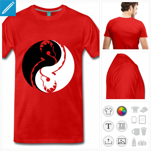 T-shirt dragon yin yang noir et blanc personnalisable, dragons inversés à imprimer en ligne.