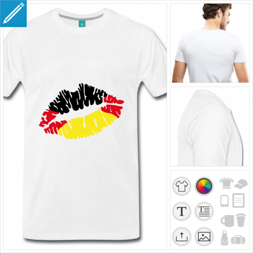 T-shirt drapeau allemand, en forme de bouche stylisée.